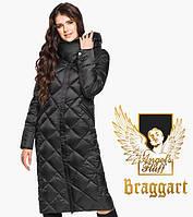 Воздуховик Braggart Angel's Fluff 31031 | Женская длинная куртка черная, фото 1