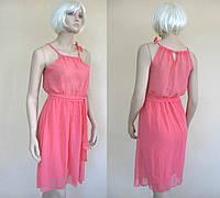 Шифоновое розовое платье в греческом стиле с бретелями-завязками