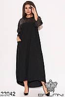 Длинное вечернее платье свободного кроя с пайетками, размеры 46-48,50-52,54-56,58-60