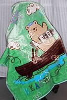 Дитяче велюрове покривало Fashion 110х140 див. Ведмідь на човні