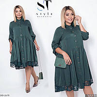 Очаровательное женское платье свободного кроя, размеры 50, 52, 54, цвета изумруд, марсала, синий 50, изумруд
