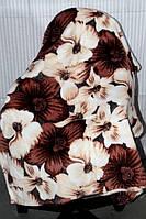 Полуторна махрове покривало KOLOCO бежево-коричневі квіти