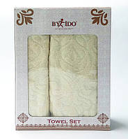 ✅  Набор полотенец из 2 полотенец (для лица 50х90,  банное 70х140) Турция (жаккард) Крем
