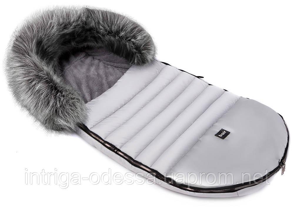 Зимний конверт Bair Polar premium  серый - серебро кожа