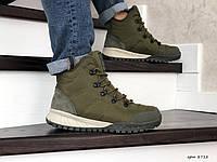 Мужские зимние ботинки на меху в стиле Columbia, кожа, термоплащевка, пена, зеленые 43 (28,4 см)