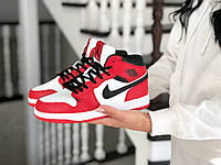 Женские зимние кроссовки на меху в стиле Nike Air Jordan 1 Retro, кожа, красные с белым и черным 36 (23,2 см)