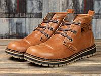 Мужские зимние ботинки на меху в стиле Clarks Ultra Moda, натуральная кожа, рыжие*** 40 (26,3 см)