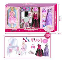 Кукла с нарядом, шарнирная, платье, трюмо, стул, аксессуары, 2478-1