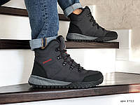 Мужские зимние ботинки на меху в стиле Columbia, кожа, термоплащевка, пена, серые 41 (27,1 см)