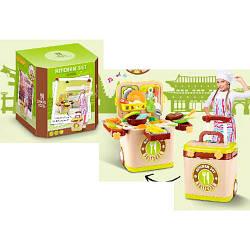 Кухня игровая, плита, сковородка, кастрюля, продукты, посуда, звук, свет, L666-36