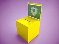 Ящик для благодійності з замком 300х200х200 мм з кольорового акрилу (Матеріал : Акрил або перламутр металік; ), фото 1