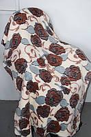 Двоспальне махрове покривало Fashion коричневий квітка