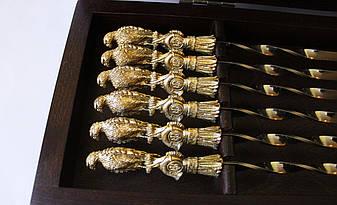 """Набір шампурів ручної роботи """"Хижий яструб"""" в кейсі з бука, 6шт, фото 2"""