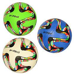 М'яч футбольний, розмір 5, гума, гладкий, 380*400г, сітка, голка, 3 кольори, VA-0043