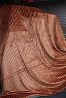 Покрывало велюровое в полосочку KOLOCO - бежевое