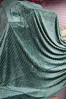 Покривало велюрове в смужку KOLOCO Green