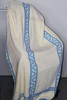 Махрове покривало двоспального розміру бежево-синє