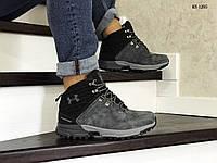 Мужские зимние ботинки на меху в стиле Under Armour, кожа, пена, серые 43 (27,5 см)
