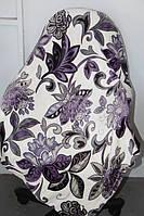 Велюровое покрывало Евро размера Fashion сиреневые цветы