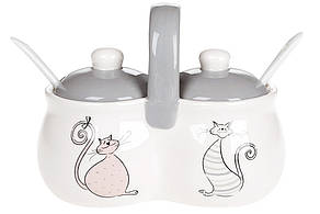 Банка для специй двойная керамическая с ложками Веселая семейка кошачьих (250мл), DM539-Q