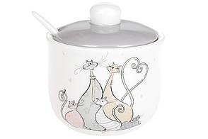 Сахарница керамическая с ложкой Веселая семейка кошачьи (350мл), DM540-Q