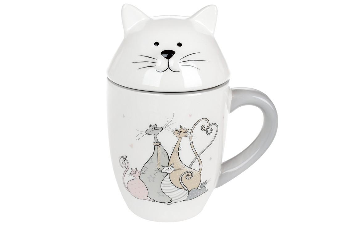 Кружка керамічна з фігурною кришкою Весела сімейка котячих (360мл), DM557-Q