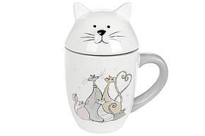 Кружка керамічна з фігурною кришкою Весела сімейка котячих (360мл), DM557-Q, фото 2