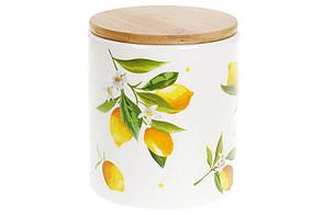 Банка керамическая 600мл с бамбуковой крышкой Сочные лимоны, DM005-Y