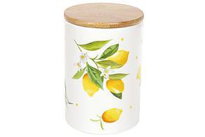 Банка керамическая 800мл с бамбуковой крышкой Сочные лимоны, DM007-Y