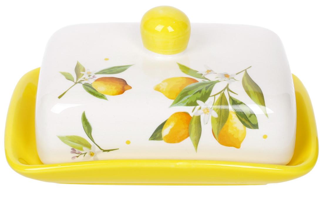 Масленка керамическая 17см Сочные лимоны, DM1902-Y