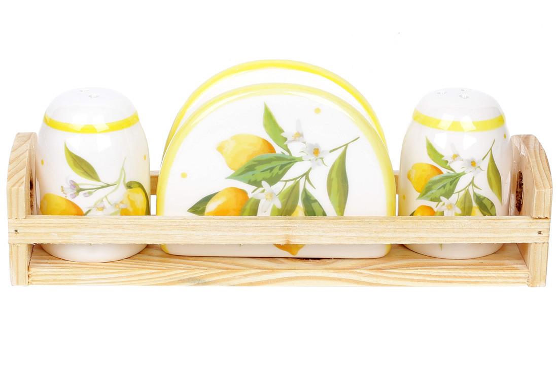 Набро для специй Сочные лимоны: солонка, перечиница и салфетница на деревянной подставке, DM312-Y