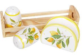 Набро для специй Сочные лимоны: солонка, перечиница и салфетница на деревянной подставке, DM312-Y, фото 2
