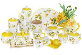 Набро для специй Сочные лимоны: солонка, перечиница и салфетница на деревянной подставке, DM312-Y, фото 3