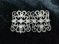 Декоративная застёжка-крючок  для одежды 6,5см темное серебро