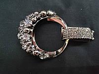 """Декоративная застежка для шубы. Клипса для шубы цвет метала """"черное серебро"""" L-8см"""