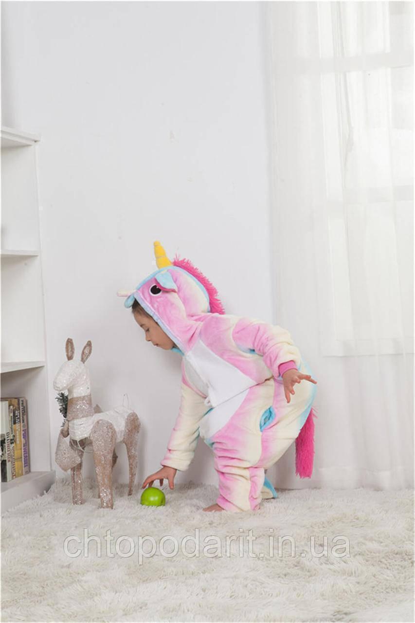 """Пижама Кигуруми детский   """"Единорог радуга пастель"""" Код 10-4086"""