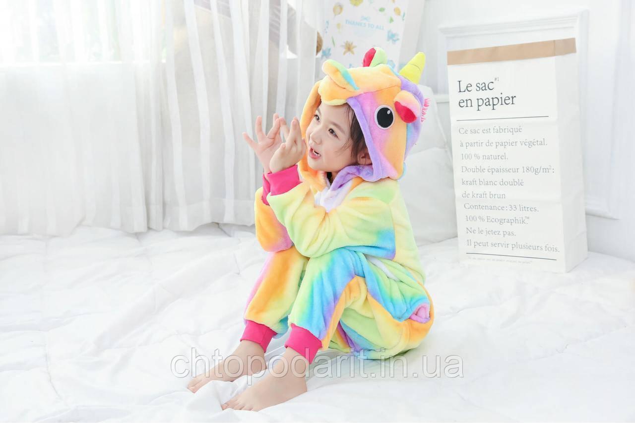 """Пижама Кигуруми детский   """"Единорог радуга"""" Код 10-4091"""