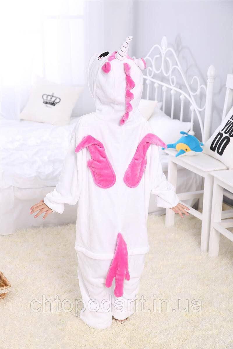 """Пижама Кигуруми детский   """"Единорог розовый"""" с крыльями Код 10-4095"""