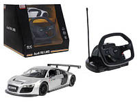 """Машинка на радиоуправлении \""""Audi R8\"""" с рулем (серебристая) 53600-10"""