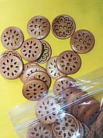 Деревянные резьбленные пуговицы PG175  №40/25мм (50шт)