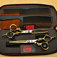 Профессиональные парикмахерские ножницы Kasho 5.5 для стрижки волос камни Swarovski золотое напыление 2шт