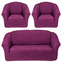 Чехлы на Диван и 2 Кресла без Оборки Универсальный Размер Набор 225, фото 1