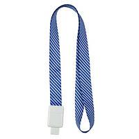 Шнурок для бейджа з ретрактором, синя смужка AXENT