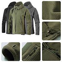 Теплая флисовая кофта куртка тактическая военная армейская с капюшоном (толстовка) ОЛИВА РАЗМЕРЫ L.XL
