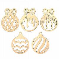 Заготовка  для декорирования Rosa Talent (фанера) набор 5 шт Новогодние шары 7,5*10 см 4801715
