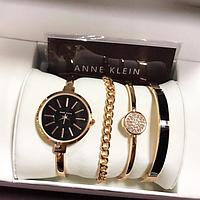 Модные женские часы с браслетом / Женский элеитный подарочный набор 4 предмета в подарочный упаковке ANNE KLEIN Black Черный