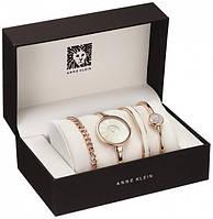 Модные женские часы с браслетом / Женский элеитный подарочный набор 4 предмета в подарочный упаковке ANNE KLEIN White Белый