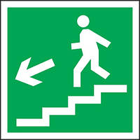 Направление к эвакуационному выходу по лестнице вниз влево