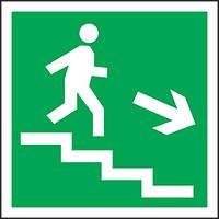 Направление к эвакуационному выходу по лестнице вниз вправо