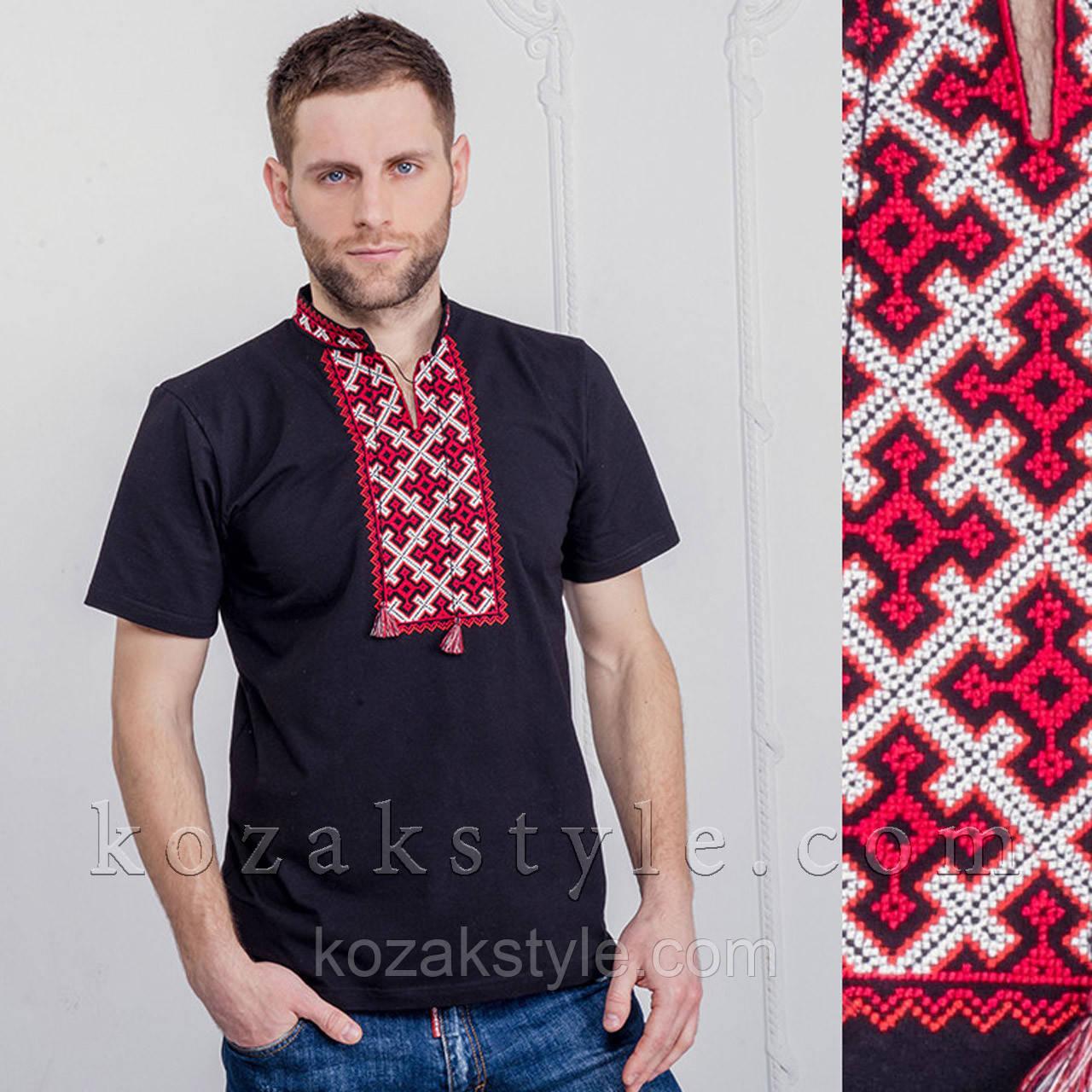 """Футболка чоловіча вишита """"Козацький хрест"""" чорна з червоною вишивкою"""
